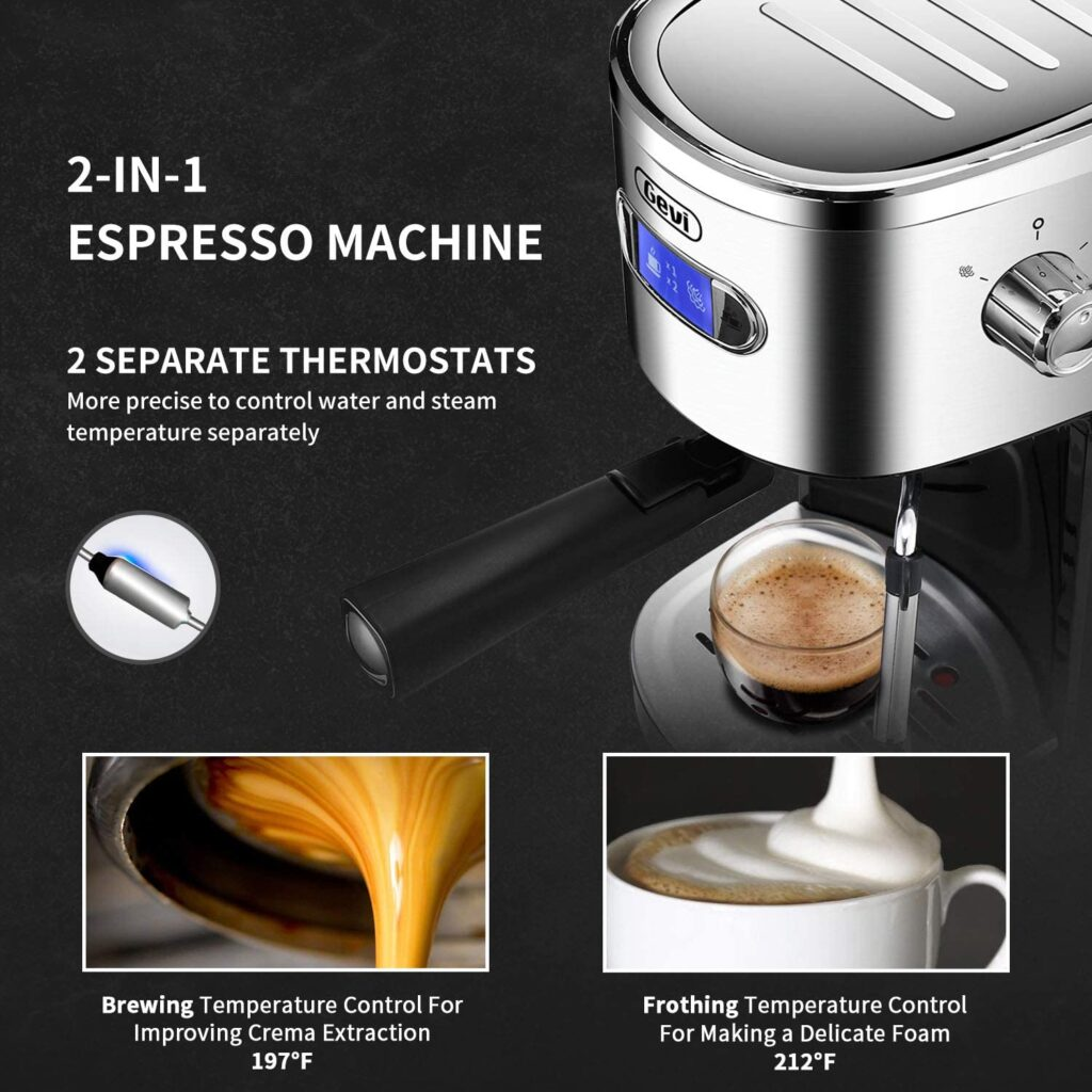 Gevi Espresso Machine Fast Heating Frother Wand